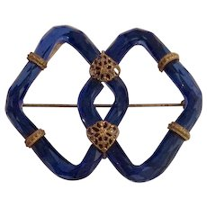 Art Deco Blue Glass and Brass Pin