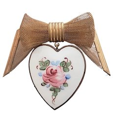 Hand painted Rose Heart Pin with Metal Mesh Bow