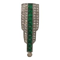 Green and Clear Crystal Art Deco Dress Clip