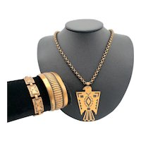 Bell Trading Post Solid Copper American Indian Design Thunderbird Mid-Century Necklace and Bracelet Set