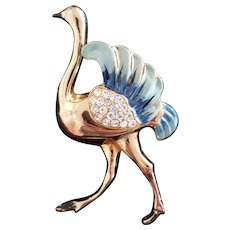 Signed Coro Enameled Ostrich Brooch