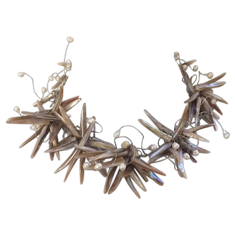 Mother of Pearl Shell Shards and Freshwater Pearl Choker Necklace
