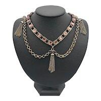 Flirty Purple Crystal Tassel Festoon Necklace