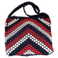 Mod Red, White and Blue Beaded Shoulder Bag