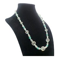 CLEAR CRYSTAL Beads with Green Accent Necklace