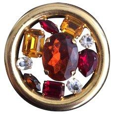 Retro Autumnal-Colored Stone 1950's Round Pin