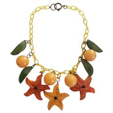 Bakelite Orange and Yellow Starfish Flower Necklace