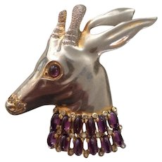 Huge Gazelle Head Adorned with Purple Cabochon Pin
