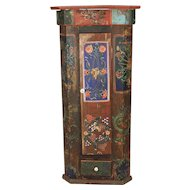 Romanian Painted Corner Cabinet
