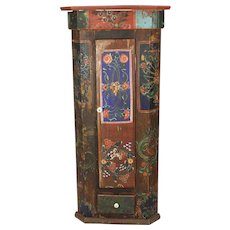 Romanian Painted Corner Cabinet