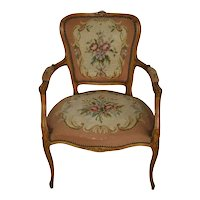 French Louis XV Fauteuil Needlepoint Armchair