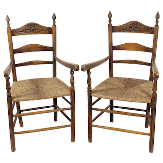 Ladder Back Armchairs Set of 2
