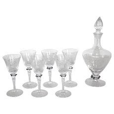 Etched Decanter and Glasses