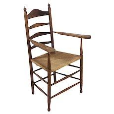 Dutch Ladder Back Armchair with Rush Seat