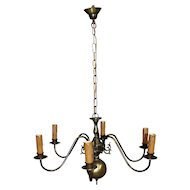 Dutch Brass Six Arm Chandelier