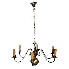 Dutch Brass Six Arm Chandelier