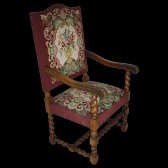 Belgian Louis XV Fauteuil Needlepoint Armchair