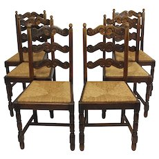 Set Of Six Belgian Chairs With Rush Seats