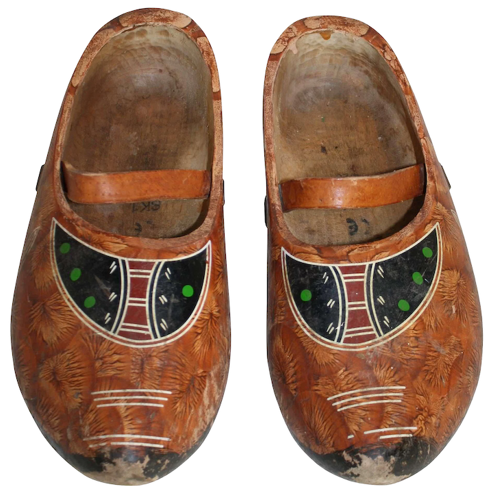 f363fe4f5d1f7 Pair of Painted Wooden Clogs