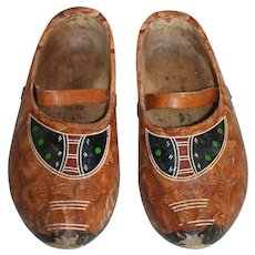 Pair of Painted Wooden Clogs