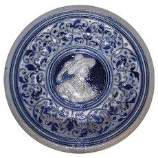 German Westerwald Salt Glazed Stoneware Plate