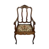 French Carved Louis XV Oak Armchair with Upholstered Seat