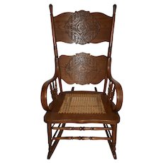Oak Press-Back Rocking Chair with Cane Seat