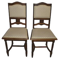 French Carved Oak Chairs, Set of Two