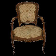 French Louis XV Needlepoint Armchair