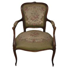 French Walnut Needlepoint Armchair