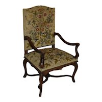 Louis XV French Walnut Needlepoint Fauteuil Armchair
