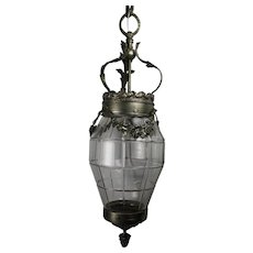 Bronze Hanging Lantern with Chrome Overlay