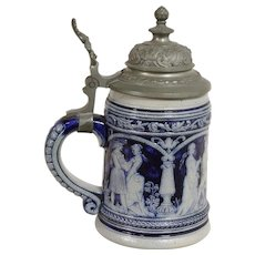 Salt Glaze and Pewter German Beer Stein with Renaissance Couples
