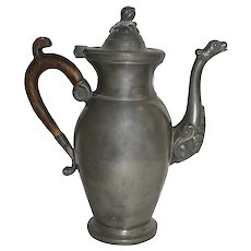 Flemish Pewter Teapot with Wooden Handle