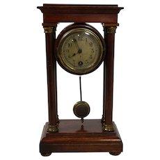 Petite English Table Clock with Exposed Pendulum