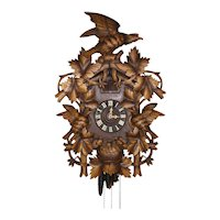 German Cuckoo Clock with Carved Eagles