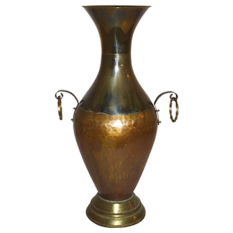 Two-Tone Copper and Brass Vase with Handles