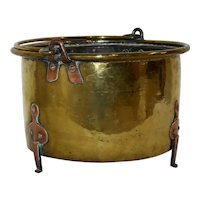 Brass Bucket with Copper Accents
