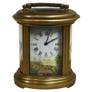 French Carriage Clock with Painted Porcelain