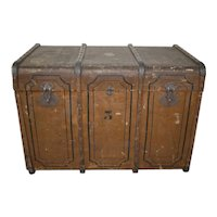 Romanian Canvas Steamer Trunk with Two Trays