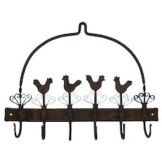 Iron Wall Rack with Chickens