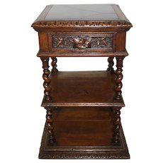 Oak Nightstand with Marble Top