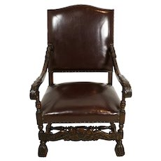 Louis XV Carved Leather Armchair