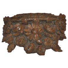 Hand Carved Floral Shelf