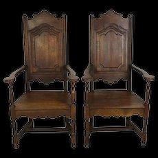 Oak High Back Farm Chairs Set of Two