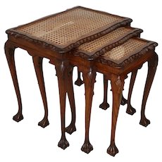 Nesting Tables with Cane and Glass Tops, Set of Three