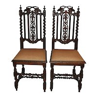 Carved Oak Chairs Set of Two