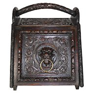 Carved Wood Coal Scuttle Bin/Box
