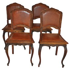 Louis XV Leather Chairs Set/4