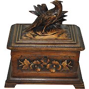 Carved Jewelry Box with Pheasant